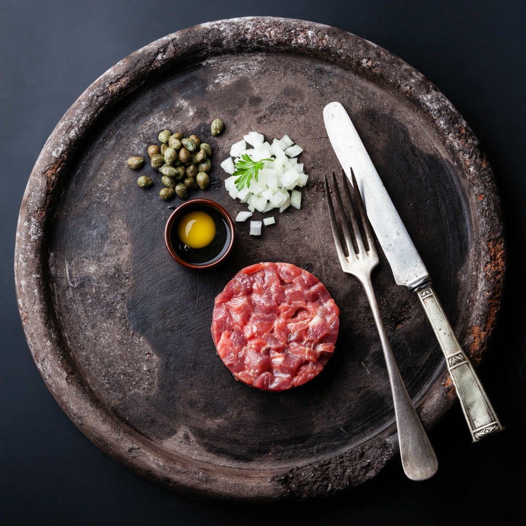 B Steak Tartare with capers and fresh onions