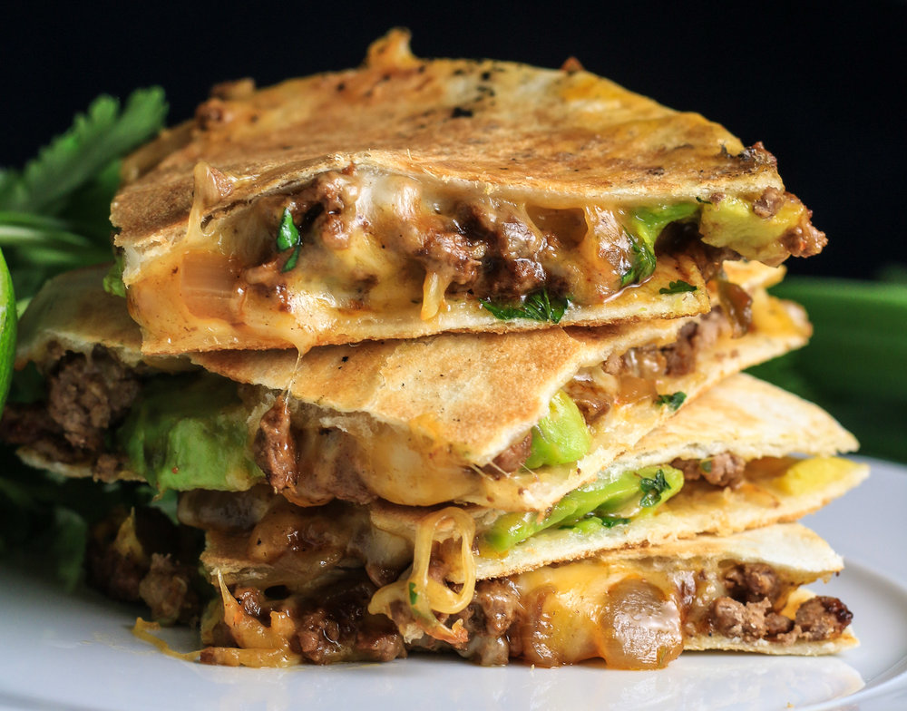 CheesyBeefyAvocadoQuesadillas